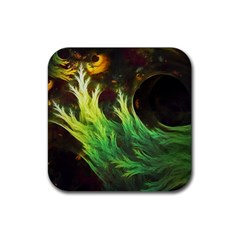 A Seaweed s Deepdream Of Faded Fractal Fall Colors Rubber Square Coaster (4 Pack)  by beautifulfractals