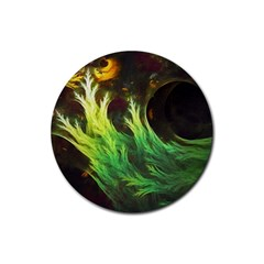 A Seaweed s Deepdream Of Faded Fractal Fall Colors Rubber Round Coaster (4 Pack)  by beautifulfractals