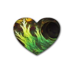 A Seaweed s Deepdream Of Faded Fractal Fall Colors Rubber Coaster (heart)  by beautifulfractals