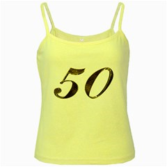 Number 50 Elegant Gold Glitter Look Typography 50th Anniversary Yellow Spaghetti Tank by yoursparklingshop