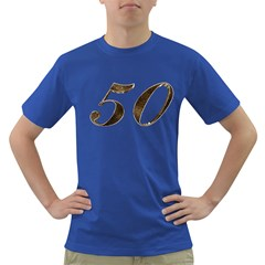 Number 50 Elegant Gold Glitter Look Typography 50th Anniversary Dark T Shirt by yoursparklingshop