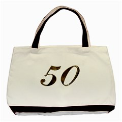 Number 50 Elegant Gold Glitter Look Typography 50th Anniversary Basic Tote Bag by yoursparklingshop