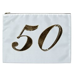 Number 50 Elegant Gold Glitter Look Typography Cosmetic Bag (xxl)  by yoursparklingshop