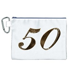 Number 50 Elegant Gold Glitter Look Typography Canvas Cosmetic Bag (xl) by yoursparklingshop
