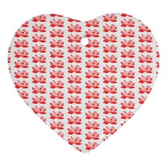 Red Lotus Floral Pattern Heart Ornament (two Sides) by paulaoliveiradesign