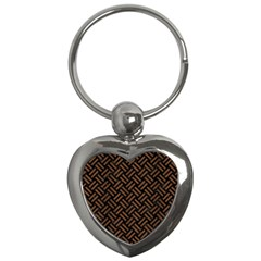 Woven2 Black Marble & Brown Wood Key Chain (heart) by trendistuff