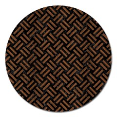 Woven2 Black Marble & Brown Wood Magnet 5  (round) by trendistuff