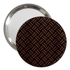 Woven2 Black Marble & Brown Wood 3  Handbag Mirror by trendistuff