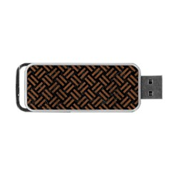 Woven2 Black Marble & Brown Wood Portable Usb Flash (one Side) by trendistuff