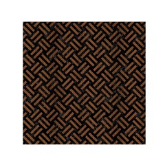Woven2 Black Marble & Brown Wood Small Satin Scarf (square) by trendistuff
