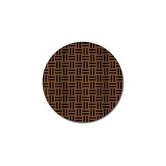 Woven1 Black Marble & Brown Wood (r) Golf Ball Marker by trendistuff