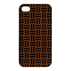 Woven1 Black Marble & Brown Wood (r) Apple Iphone 4/4s Premium Hardshell Case by trendistuff