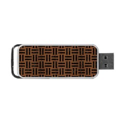 Woven1 Black Marble & Brown Wood (r) Portable Usb Flash (one Side) by trendistuff