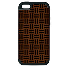 Woven1 Black Marble & Brown Wood (r) Apple Iphone 5 Hardshell Case (pc+silicone) by trendistuff