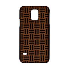 Woven1 Black Marble & Brown Wood (r) Samsung Galaxy S5 Hardshell Case  by trendistuff