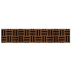 Woven1 Black Marble & Brown Wood (r) Flano Scarf (small) by trendistuff