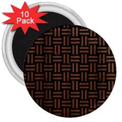 Woven1 Black Marble & Brown Wood 3  Magnet (10 Pack) by trendistuff