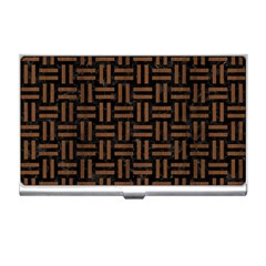 Woven1 Black Marble & Brown Wood Business Card Holder by trendistuff