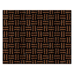 Woven1 Black Marble & Brown Wood Jigsaw Puzzle (rectangular) by trendistuff