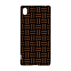 Woven1 Black Marble & Brown Wood Sony Xperia Z3+ Hardshell Case by trendistuff
