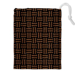 Woven1 Black Marble & Brown Wood Drawstring Pouch (xxl) by trendistuff