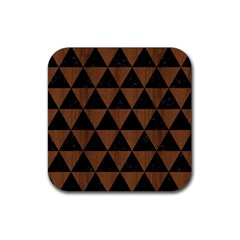 Triangle3 Black Marble & Brown Wood Rubber Square Coaster (4 Pack) by trendistuff