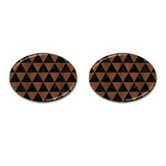 Triangle3 Black Marble & Brown Wood Cufflinks (oval) by trendistuff
