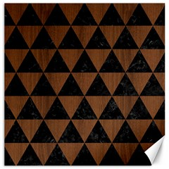Triangle3 Black Marble & Brown Wood Canvas 16  X 16  by trendistuff