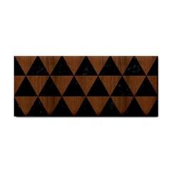 Triangle3 Black Marble & Brown Wood Hand Towel by trendistuff