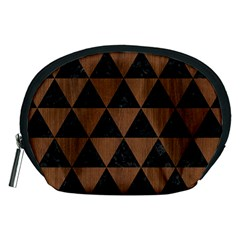 Triangle3 Black Marble & Brown Wood Accessory Pouch (medium) by trendistuff