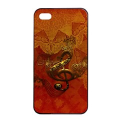 Golden Clef On Vintage Background Apple Iphone 4/4s Seamless Case (black) by FantasyWorld7