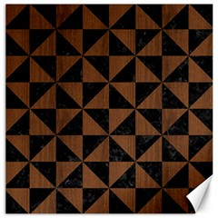 Triangle1 Black Marble & Brown Wood Canvas 12  X 12  by trendistuff