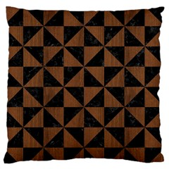 Triangle1 Black Marble & Brown Wood Standard Flano Cushion Case (two Sides) by trendistuff