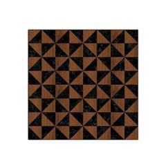 Triangle1 Black Marble & Brown Wood Satin Bandana Scarf by trendistuff