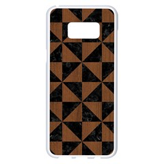 Triangle1 Black Marble & Brown Wood Samsung Galaxy S8 Plus White Seamless Case by trendistuff