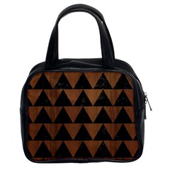 Triangle2 Black Marble & Brown Wood Classic Handbag (two Sides) by trendistuff