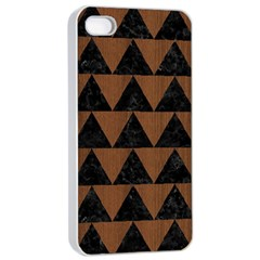 Triangle2 Black Marble & Brown Wood Apple Iphone 4/4s Seamless Case (white) by trendistuff