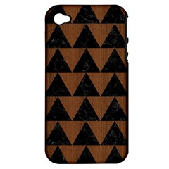 Triangle2 Black Marble & Brown Wood Apple Iphone 4/4s Hardshell Case (pc+silicone) by trendistuff