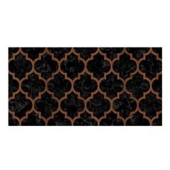 Tile1 Black Marble & Brown Wood Satin Shawl by trendistuff