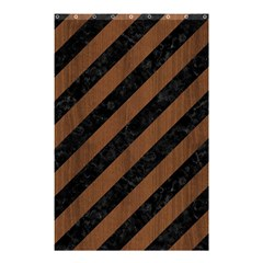 Stripes3 Black Marble & Brown Wood Shower Curtain 48  X 72  (small) by trendistuff