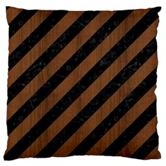 Stripes3 Black Marble & Brown Wood Large Flano Cushion Case (two Sides) by trendistuff
