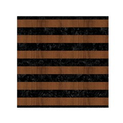 Stripes2 Black Marble & Brown Wood Small Satin Scarf (square) by trendistuff