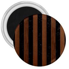 Stripes1 Black Marble & Brown Wood 3  Magnet by trendistuff
