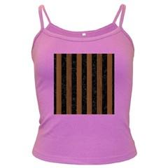 Stripes1 Black Marble & Brown Wood Dark Spaghetti Tank by trendistuff