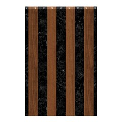 Stripes1 Black Marble & Brown Wood Shower Curtain 48  X 72  (small) by trendistuff