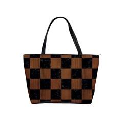 Square1 Black Marble & Brown Wood Classic Shoulder Handbag by trendistuff