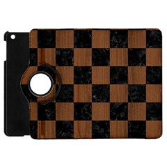 Square1 Black Marble & Brown Wood Apple Ipad Mini Flip 360 Case by trendistuff