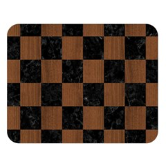 Square1 Black Marble & Brown Wood Double Sided Flano Blanket (large) by trendistuff