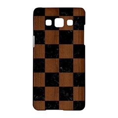 Square1 Black Marble & Brown Wood Samsung Galaxy A5 Hardshell Case  by trendistuff