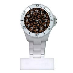 Skin5 Black Marble & Brown Wood (r) Plastic Nurses Watch by trendistuff